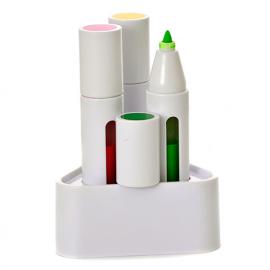 Conjunto de 3 marcadores com suporte de mesa