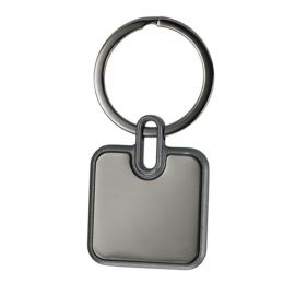 Porta-chaves quadrado em metal espelhado, caixa oferta