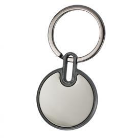 Porta chaves redondo em metal espelhado com caixa