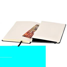 Bloco de notas A5, 80 folhas pautadas com elástico e bolsa