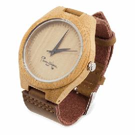 Relógio Bambú con Pele Natural