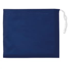 Capa de chuva plástica dobrável com capuz em bolsa.
