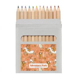 Set de 12 lápis coloridos em caixa de papel.