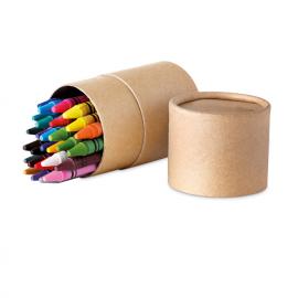 30 lápis de cera em tubo de cartão.