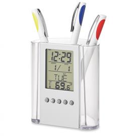 Porta esferográficas com calendário e termómetro