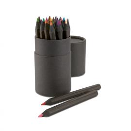 Estojo de cartão com 24 lápis pretos de várias cores. Servidos com ponta