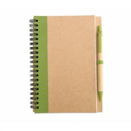 Caderno com 70 folhas de papel reciclado e esferográfica de tinta azul