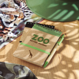Caderno de bolso com 70 páginas de papel liso reciclado