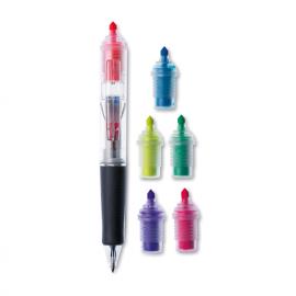 Esferográfica com 3 cores de tinta e 6 marcadores