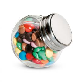 Chocolates 30 gramas em pote de vidro.
