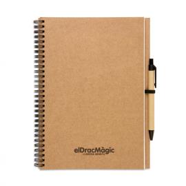 Caderno reciclado com capa preta ou castanho natural