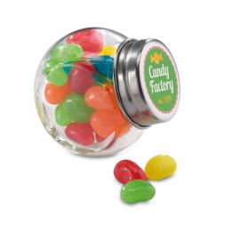 Pote de cristal com gomas de cores e tapa de metal