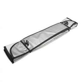 Guarda-sol para pára-brisa frontal em lâmina de alumínio, com 2 ventosas.