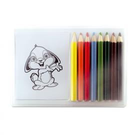 Caixa transparente com lápis de cor