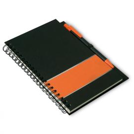 Elegante caderno com capas em cartão preta