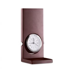 Pedestal de madeira com relógio analógico