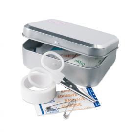 Kit de primeiros auxílios em caixa de metal