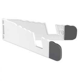 Suporte para tablet e smartphone dobrável em ABS branco com ponta em silicone cinzenta