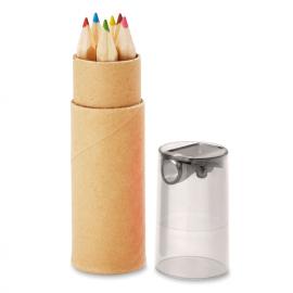 Tubo de cartão com 6 lápis e cor