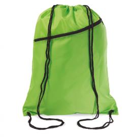 Grande saco de cordão de poliéster 190T com bolso frontal.