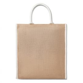 Saco de compras Juta laminado com pa de algodão aparadas.