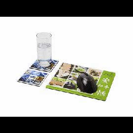 Conjunto de tapete para rato e base para copos Q-Mat® 3