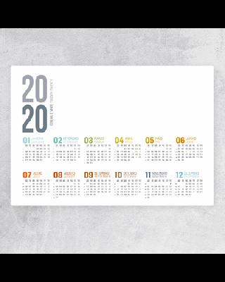 Planning de secretária em PVC com calendário
