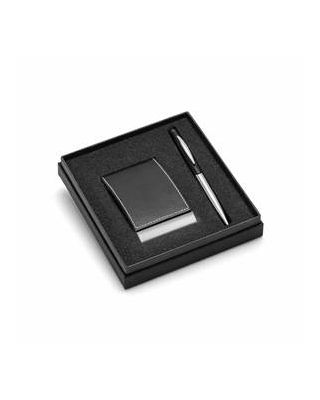 Conjunto esferográfica e porta-cartões