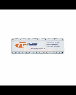 Régua REG-15 com tampa acrílica e escala impressa, 15cm