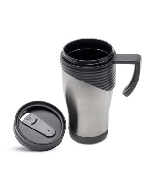 Taça de aço inoxidável com asa de plástico. Capacidade 455 ml.