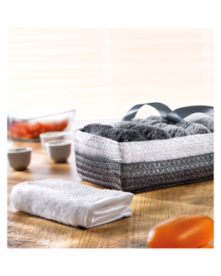 Set de 6 toalhas faciais em cesta PP 100% algodão