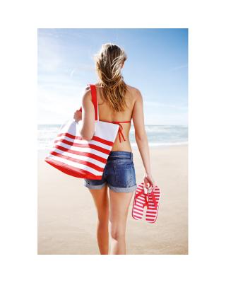 Bolsa de praia riscas bicolor, estilo marinheiro