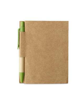 Bloco notas caneta reciclável