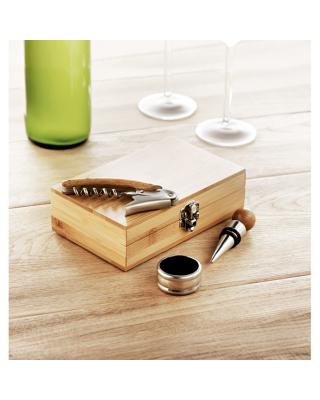 Set de vinho em caixa de Bambu