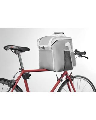 Refrigerador 600D poliéster com bolsos frontais e um bolso lateral com zíper.