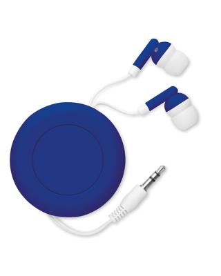 Fones de ouvido retráteis em habitação PVC. Basta apertar o botão para rebobinar e armazenar com segurança os seus fones de ouvido.