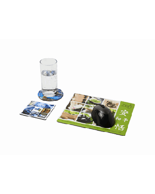 Conjunto de tapete para rato e base para copos Q-Mat®