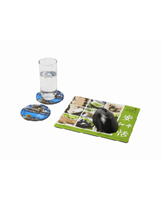 Conjunto de tapete para rato e base para copos Q-Mat® 2